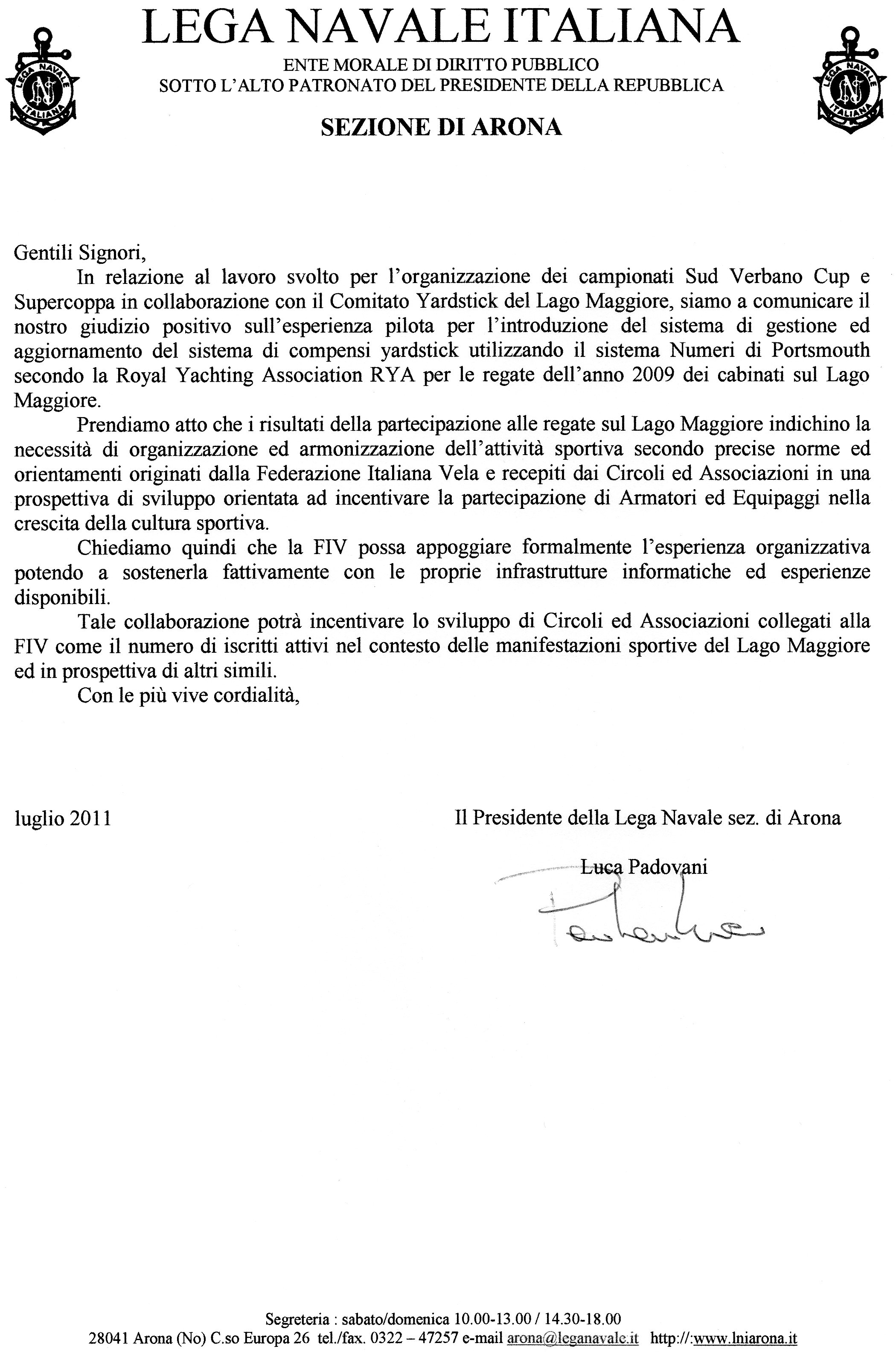 Lettera di adesione LNI Arona